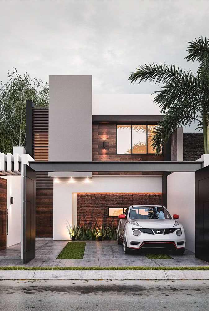 Lembre-se de combinar a cor da fachada da casa com os demais elementos que a compõe