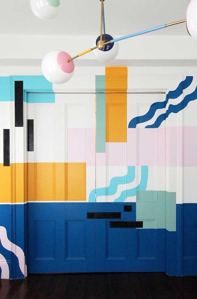Pintura abstrata geométrica livre, leve e solta!