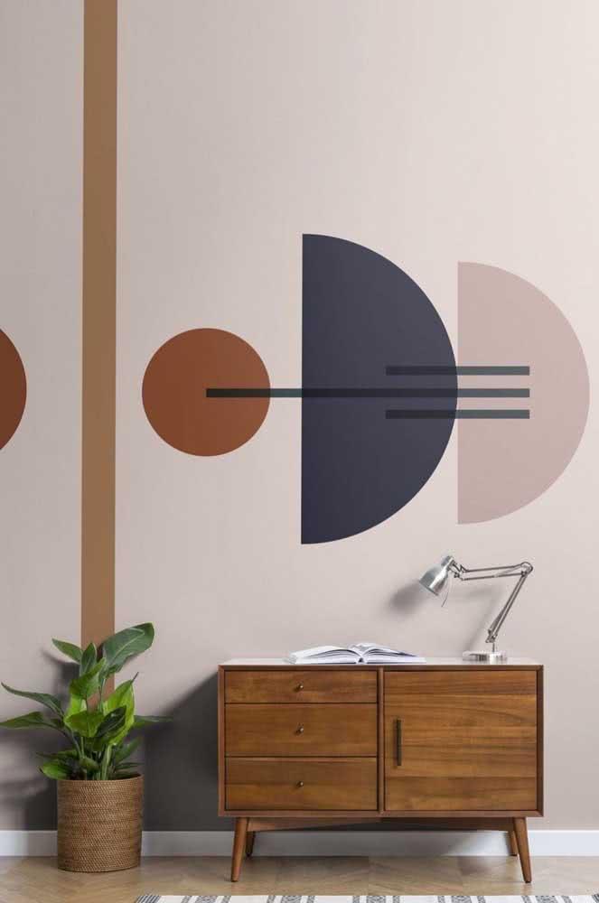 Pintura abstrata geométrica para tirar a sala do comum