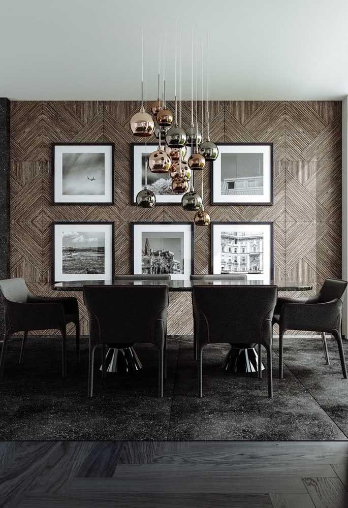 Um conjunto e tanto de pendentes cobre para a mesa de jantar