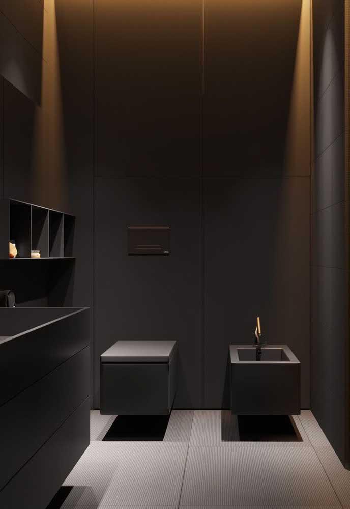 Que tal um banheiro com bidê quadrado? O vaso, é claro, acompanha o mesmo formato