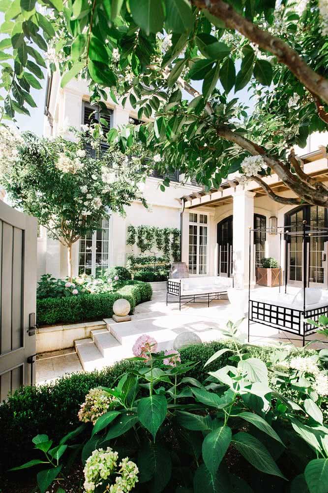 Decoração de quintal pequeno em estilo clássico