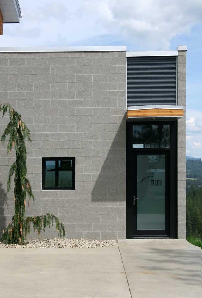 Porta preta de alumínio em conjunto com a janela