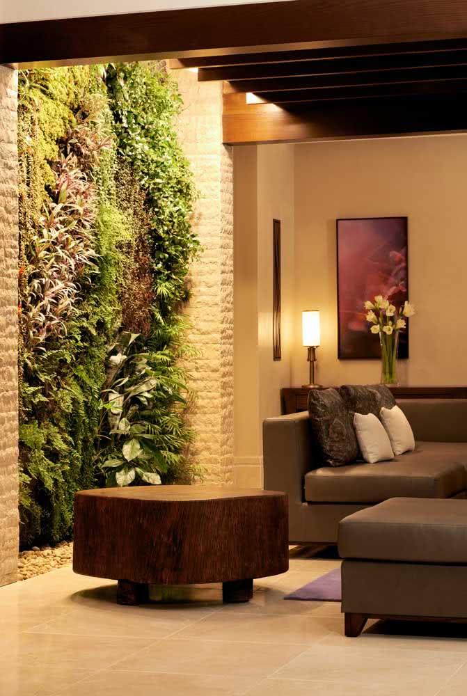 Jardim vertical artificial para sala em estilo jardim de inverno
