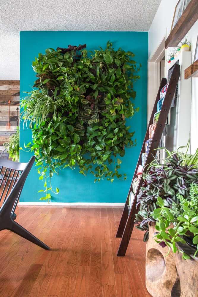 Jardim vertical artificial pequeno, mas cheio de charme