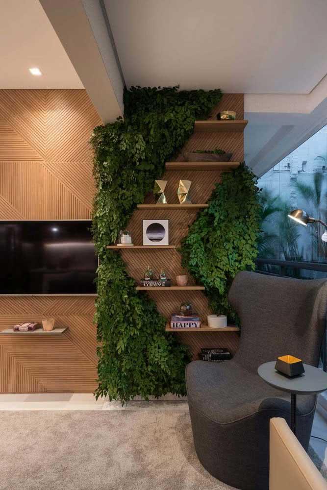 Jardim vertical artificial para sala no nicho das prateleiras