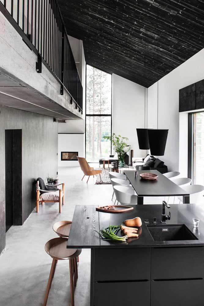 Loft estilo industrial e minimalista com destaque para a paleta em branco e preto