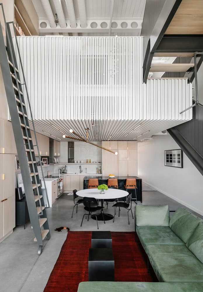 Loft industrial com decoração clean e sofisticada