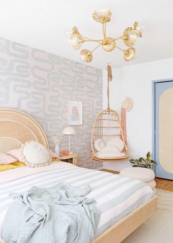 Tons e estampas suaves para o papel de parede para quarto feminino