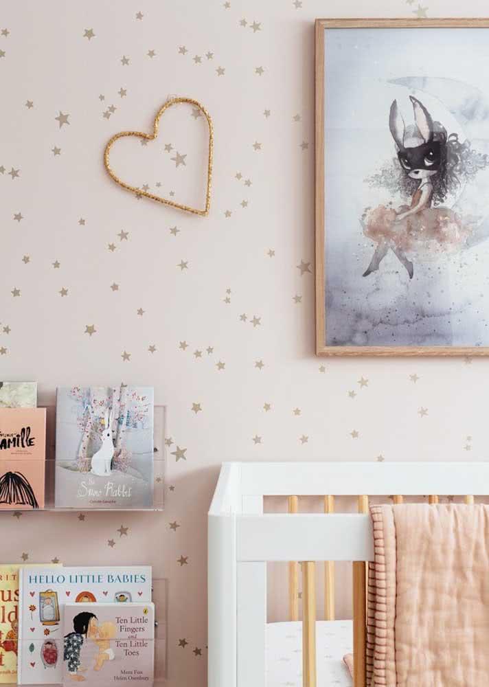 Papel de parede para quarto feminino jovem com estampa de estrelas e po.