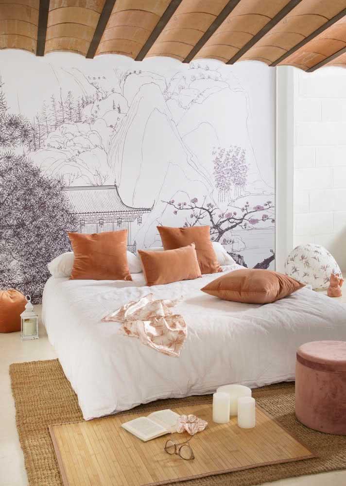Que tal uma agora uma influência oriental no papel de parede para quarto feminino?