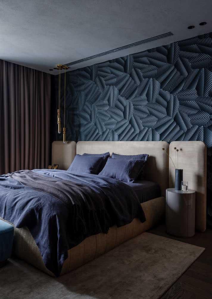 Papel de parede sóbrio para quarto de casal masculino.