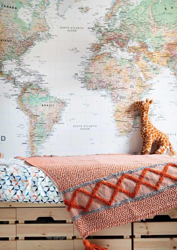 Estimule a criatividade dos pequenos com um papel de parede Mapa Mundi