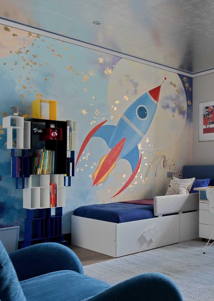 Espaço sideral: papel de parede com foguete ilustrado e visão do espaço com a lua cheia.