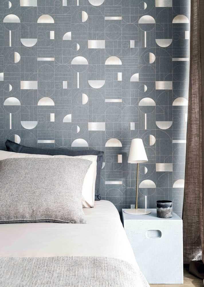 Papel de parede com ilustração geométrica.