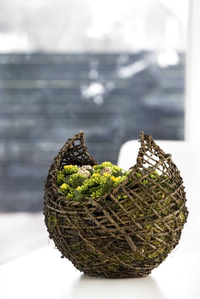 Um ninho rústico para a flor da fortuna amarela