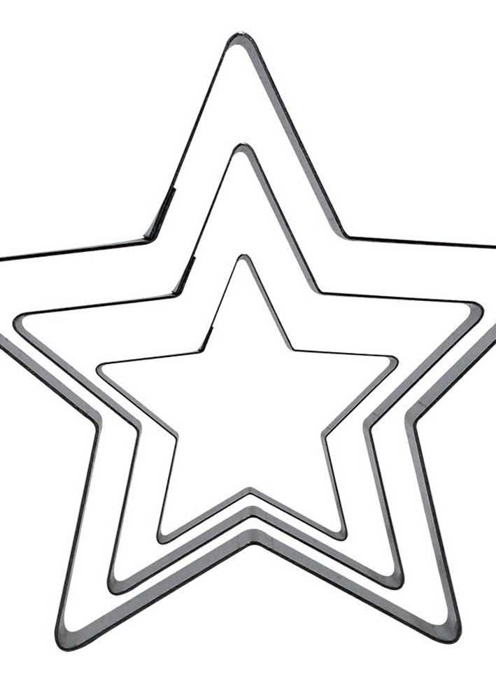 Molde de estrela cinco pontas em três tamanhos diferentes