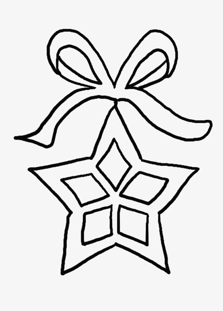 Molde de estrela em formato de embrulho de presente. Boa para o natal