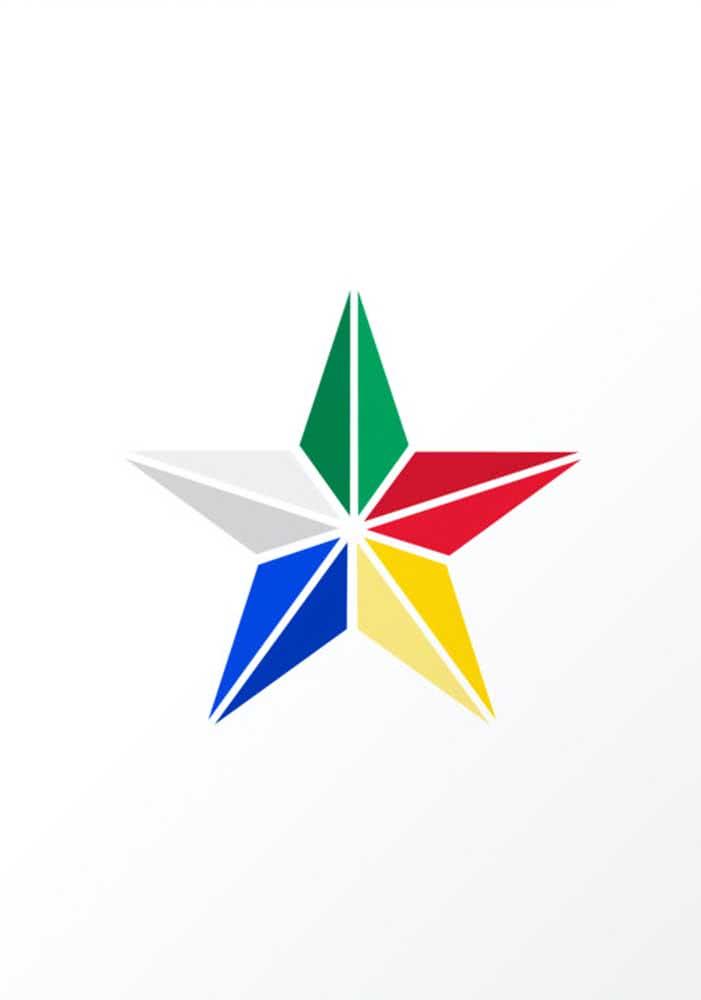 Molde de estrela colorida com cinco pontas