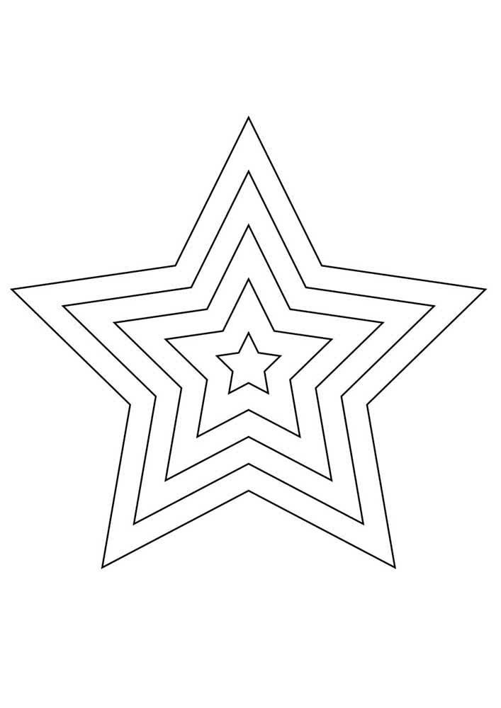 Mas talvez você precise de um pouco mais, então pega esse molde com cinco estrelas em tamanhos diferentes