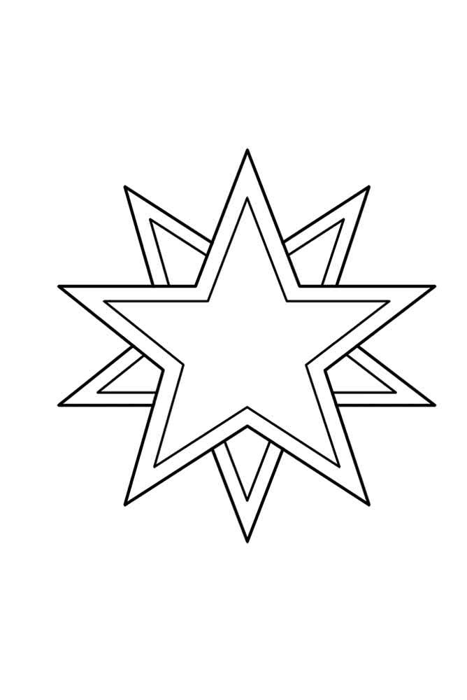 Molde de estrela de natal. Copie, recorte e enfeite a casa