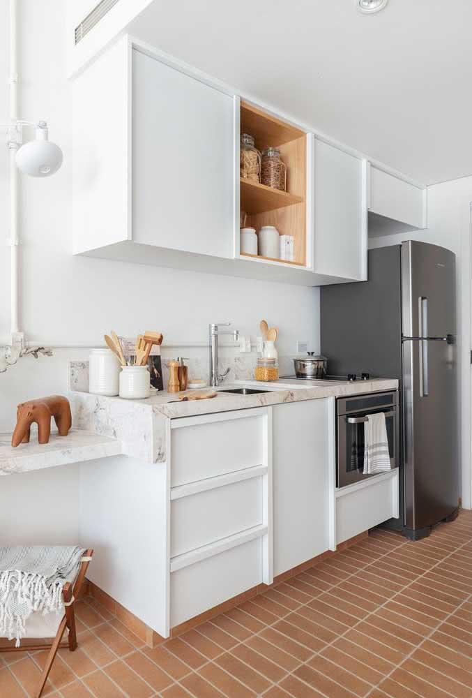 Granito branco para combinar com a cor dos armários