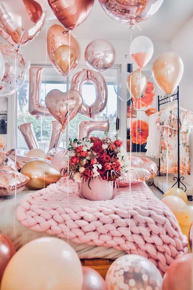 Decoração romântica com balões. Simples assim!
