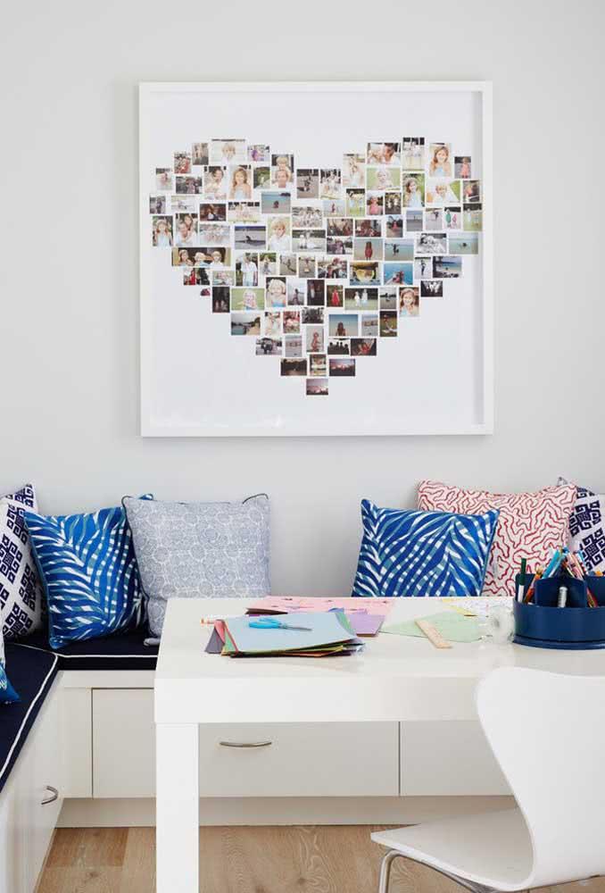 O que acha de emoldurar os melhores momentos em um coração? Ideia de decoração romântica simples