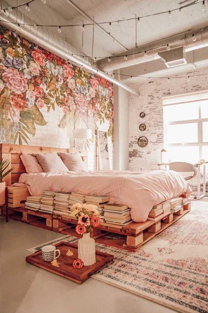 Decoração romântica e rústica para o quarto de casal