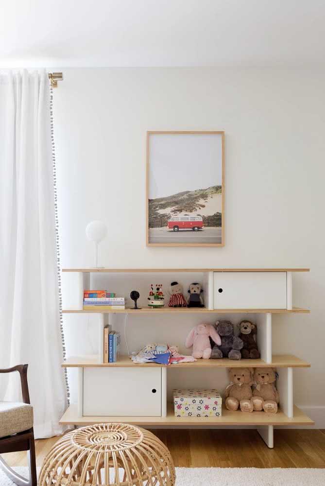 Estante para brinquedos simples, segura e bonita