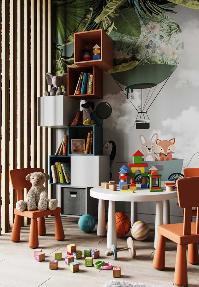 """E o que acha de """"empilhar"""" nichos para formar uma estante para brinquedos infantil?"""