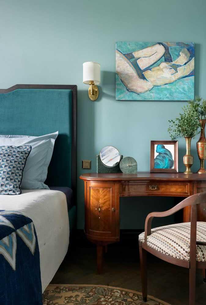 Quadro clássico para quarto combinando com a paleta de cores do ambiente