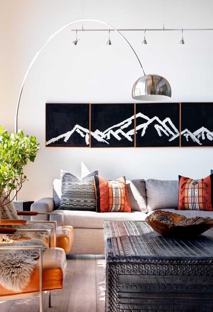 Quadros clássicos para sala de estar: a parede do sofá é sempre uma boa escolha para eles