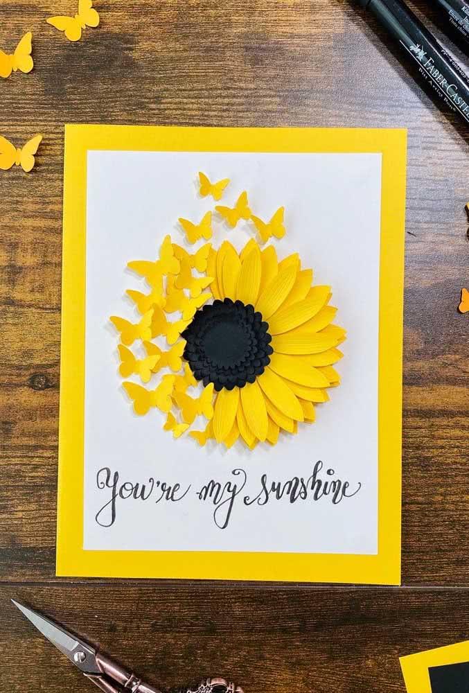 Girassol de papel que vira borboletas. Uma linda ideia para um cartão romântico