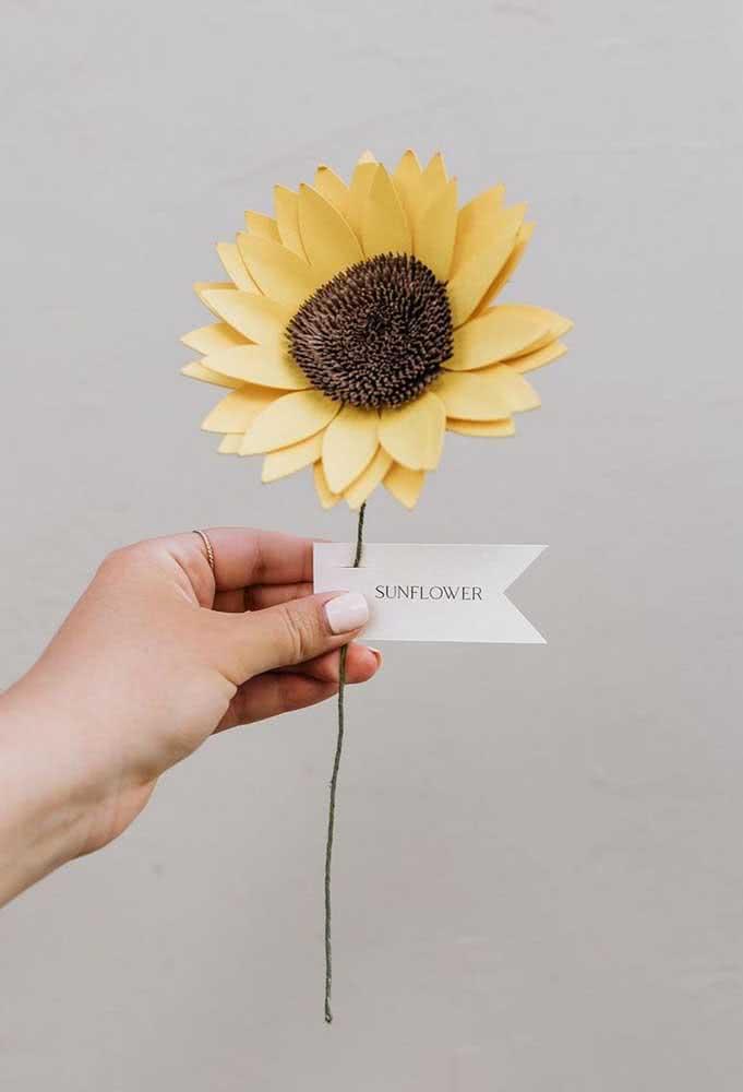 Flor de girassol de papel para presentear