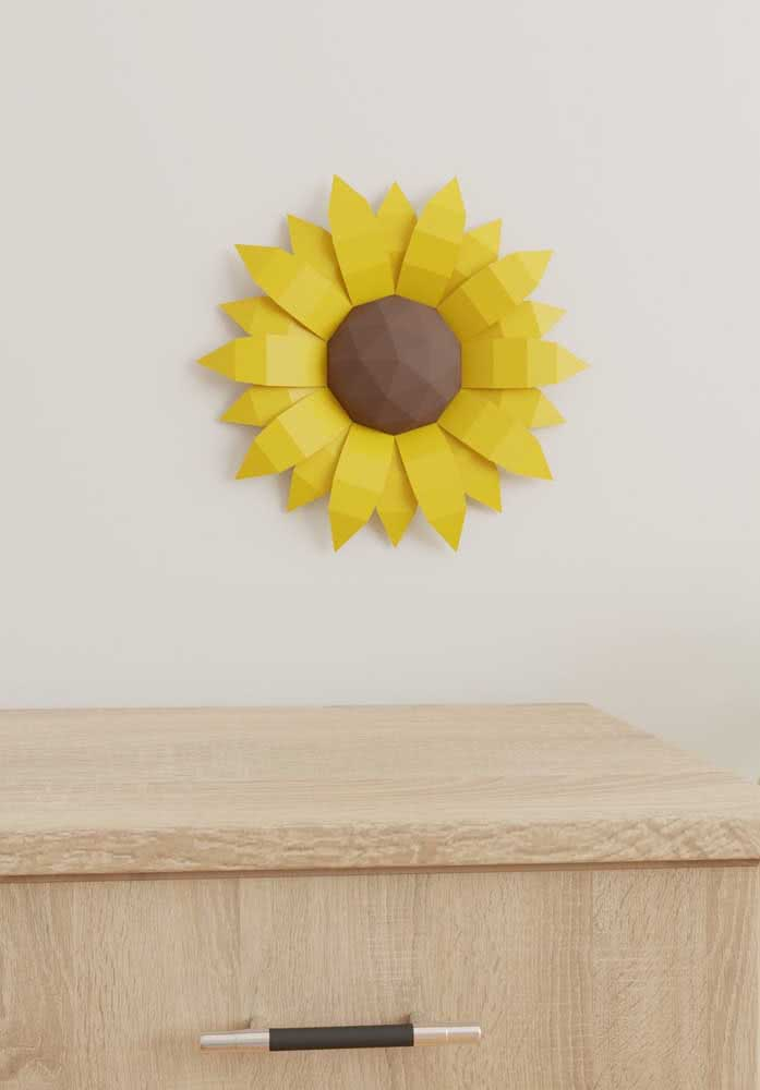 Flor de girassol de papel para destacar um ambiente minimalista