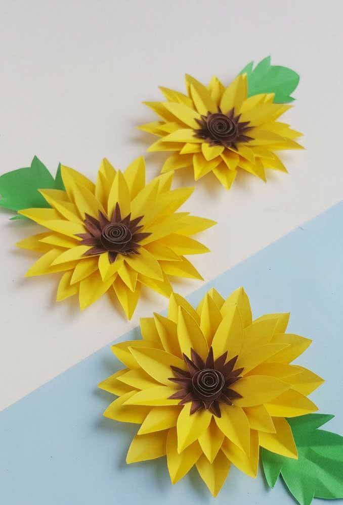 Flores de girassol de papel fáceis e simples de fazer