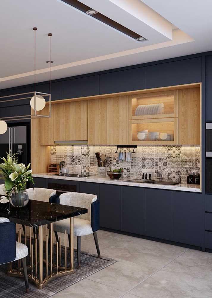 Armário de cozinha azul: sofisticado e moderno