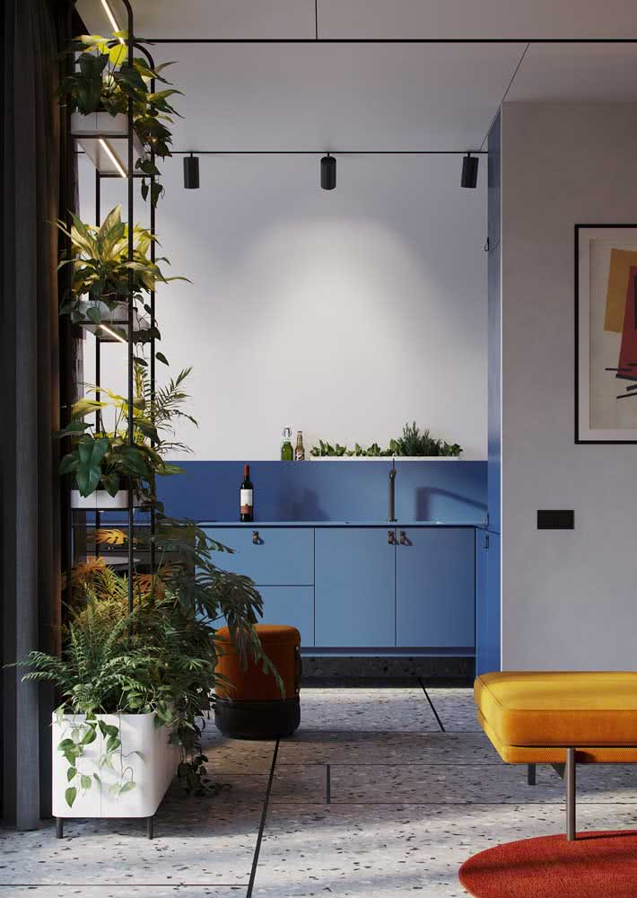 O que acha de pintar a parede na mesma cor do armário da cozinha azul?
