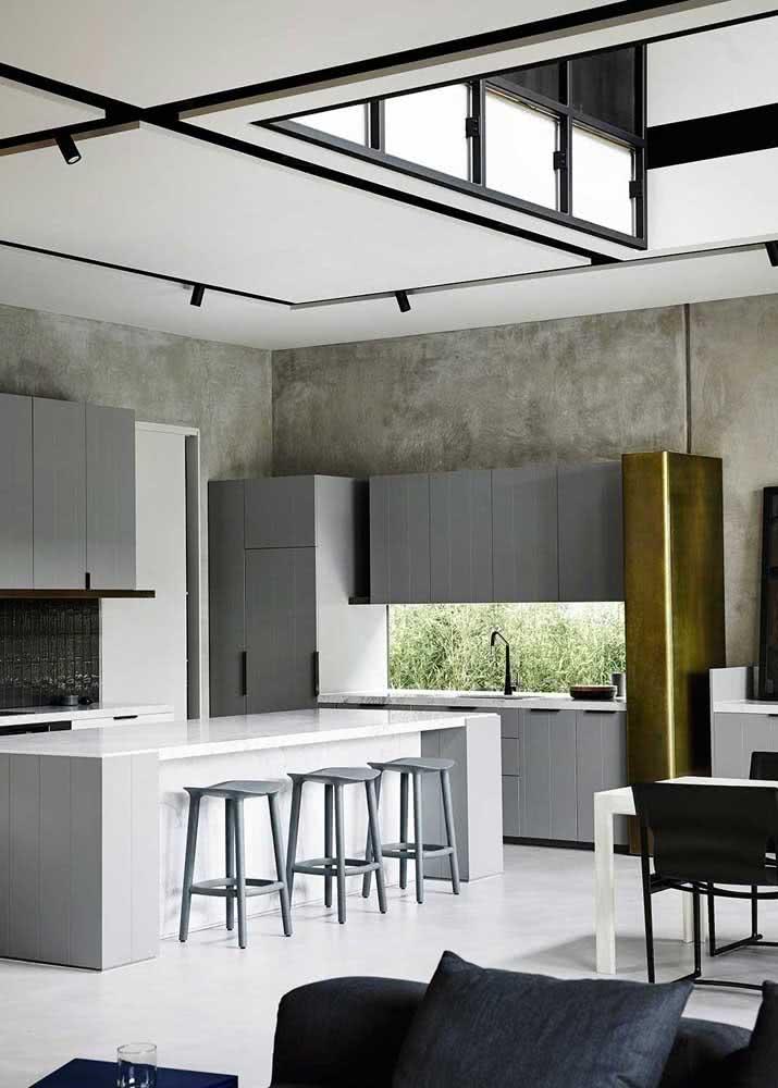 Armário de cozinha cinza: moderno e seguindo o estilo da parede de cimento queimado