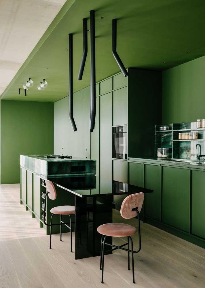 Armário de cozinha verde: monocromático e conceitual