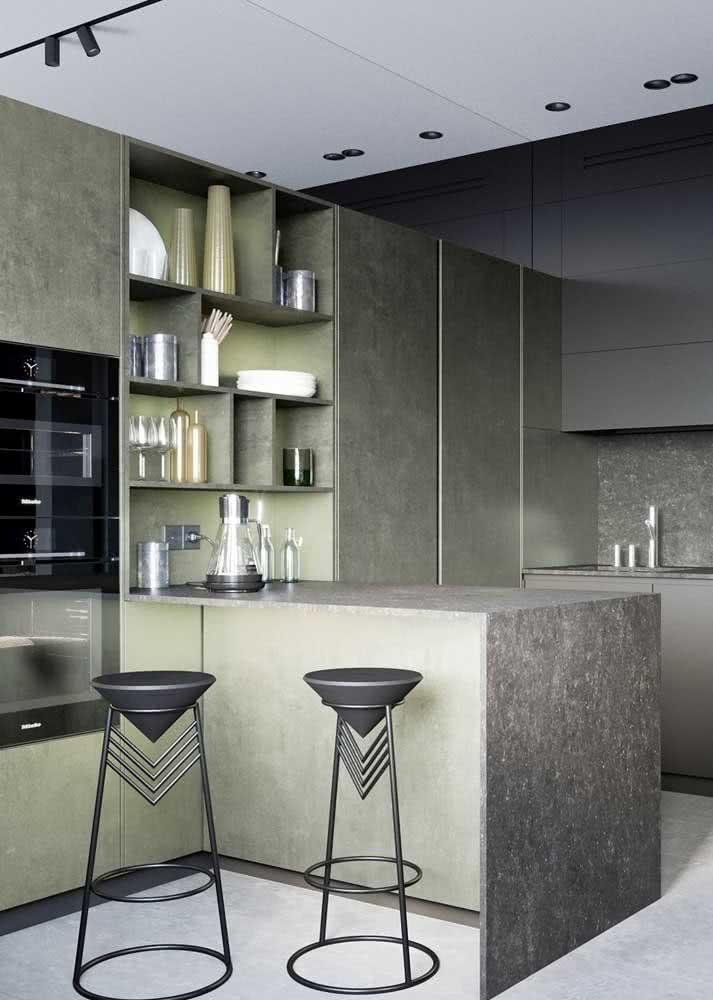 Texturas diferentes para um armário de cozinha moderno