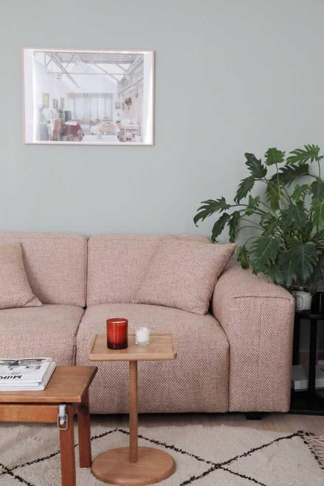 Já aqui, a inspiração é o sofá nude rosé